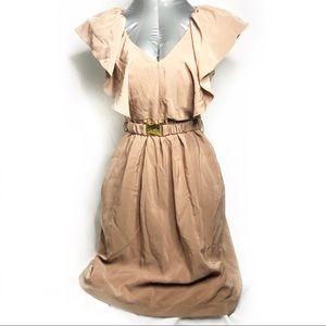 H&M Ruffle Short Sleeve Buckle Dress